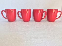 4 PC SET Corelle Coordinates SOLID RED Cups Mugs STONEWARE
