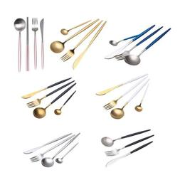 4 Pcs/Set Stainless Steel Cutlery Gold Plated Dinnerware Par