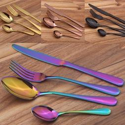 4 Pcs/Set Stainless Steel Cutlery Gold Plated Dinnerware Kni