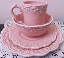 Victorian Lace 4 Piece Pink Ceramic Dinnerware Set