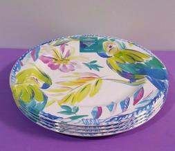 """Artistic Accents Melamine 4 Plates 11"""" Tropical Parrot Hibis"""