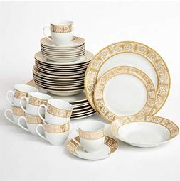 Brylanehome 40-Pc. Golden Ceramic Dinnerware Set