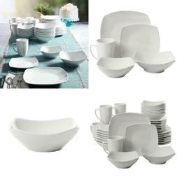 40-Piece Dinnerware Set White Ceramic Kitchen Dish Square Di