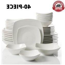 40-Piece White Soft Square Dinnerware Set Kitchen Dining Ser