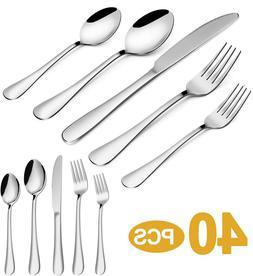 Stainless Steel Cutlery Set 40Pc Spoon Fork Knife Flatware S