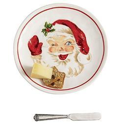 Mud Pie 41100002 Vintage Santa Cheese Serving Plate Set, One