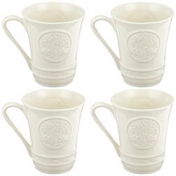 Belleek Pottery 4393 Irish Craft Mugs, 10-Ounce, White, Set