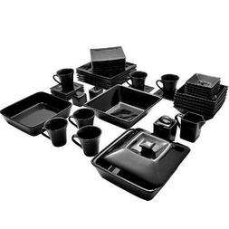 45 piece square dinnerware set for 6