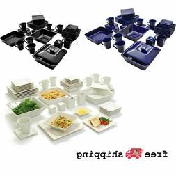 45-Piece Square Dinnerware Set For 6, Porcelain Plates, Mult