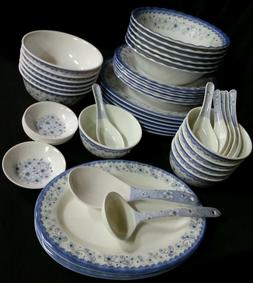 46 Piece Melamine Plastic BLUE Dinner Gift Set Serving Bowl