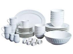 46 Piece White Dinnerware Set Kitchen Dining Dishes Plates S