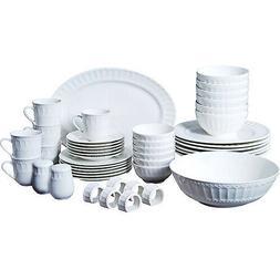 Ceramic Dinner Serve Ware Set 46pc Service for 6 Kitchen Din