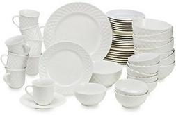 48-Piece Dinnerware Set Casual Dinner Ware Sets Stoneware Wh