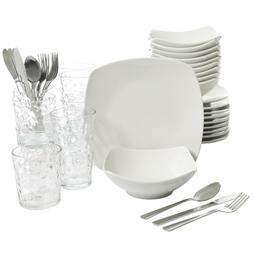 48-Piece Dinnerware Set Square Dinner Plates Dish Service Ho