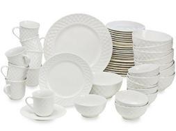 Gibson 48-Piece White Quilt Pattern Dinnerware Set Service f