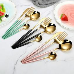 4Pcs/set Black Gold Cutlery Set Stainless Steel Dinnerware S