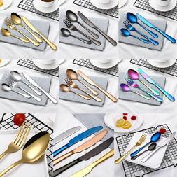 4Pcs/Set Stainless Steel Cutlery Dinnerware Fork Spoon Teasp