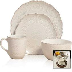 Pfaltzgraff 5143149 Chateau Cream 16 PC Stoneware Dinnerware