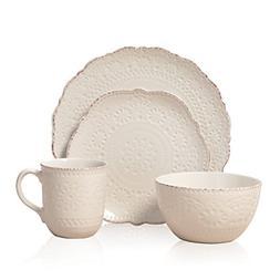 5143149 Chateau Cream 16 PC Stoneware Dinnerware Set Off Whi
