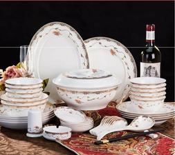 56pcs Chingtechen Dinnerware Set Kitchen Porcelain Dining Pl