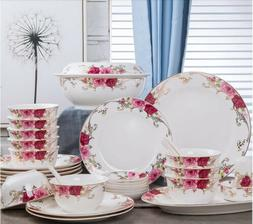 56pcs Decicate Chingtechen Dinnerware Set Kitchen Dining Pla