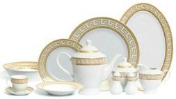 Euro Porcelain 57-pc Dinnerware Set Greek Key Gold - 24K Ban