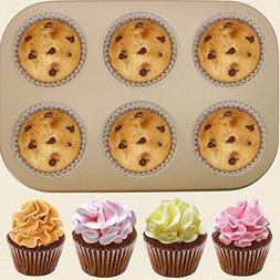 Iuhan 6 Cups Cake Carbon Steel Nonstick Bakeware Pan Tray Mo