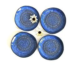6 Hand shaped Dessert Plates set in Aztec Blue - Handmade Ce