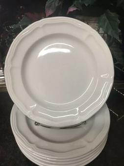 "6 Thompson Pottery Scalloped Design 7.75"" White Salad Plat"
