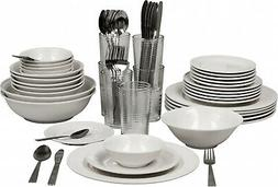 62-PIECE DINNERWARE SET WHITE ROUND, SERVICE FOR 6, STONEWAR