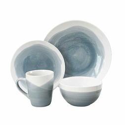 American Atelier 6702-16-RB Oasis Dinnerware Set , Gray/Blue