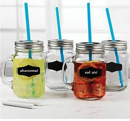 Circleware 69079 Yorkshire Mason Jar Drinking Mugs with Glas