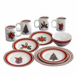 American Atelier 7249-16-RB Noelle Holiday Dinnerware Set, 1