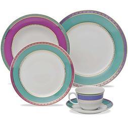 Oxford 7891361924967 30 Piece Flamingo Dinnerware Set, Jewel