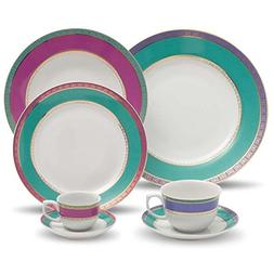 Oxford 7891361924974 42 Piece Flamingo Dinnerware Set, Jewel