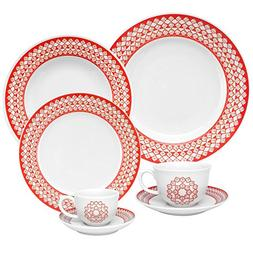 Oxford 7891361984626 42 Piece Flamingo Dinnerware Set, Fleur