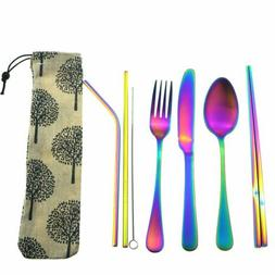 7pcs Matte Rainbow Cutlery Set Stainless Steel Knife Fork Sp