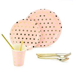 8 Guests Pink Party Disposable Dinnerware Set - 9-Inch & 7-I