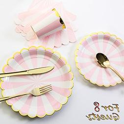 8 Guests Pink Striped with Gold Rim Disposable Partyware Din