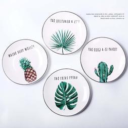 8 inch Round Green Plants Porcelain Dinner Plate <font><b>Se