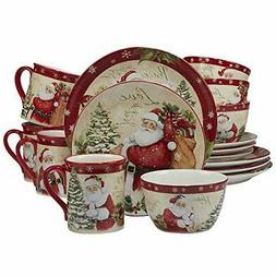 Certified International 89127 Holiday Wishes 16 Piece Dinner