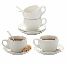 8oz Cappuccino Cups Set of 4 with Saucer White Porcelain for