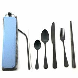 8pcs Flatware set Stainless Steel Dinnerware Chopsticks Stra