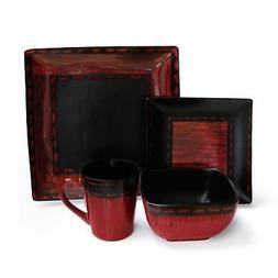 American Atelier Livingston 16-Piece Dinnerware Set, Red