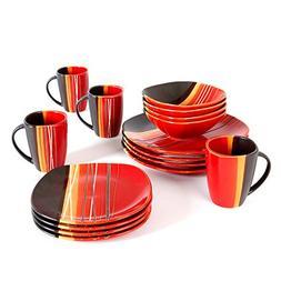 Better Homes and Gardens Bazaar Red 16-Piece Dinnerware Set,