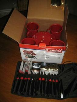 Coleman 24-Piece Enamel Dinnerware Set, Red