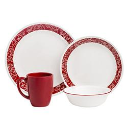 Corelle Livingware 16-Piece Dinnerware Set, Bandhani, Servic