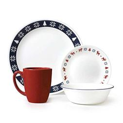 Corelle Livingware 16-Piece Dinnerware Set, Nordic Blue, Ser