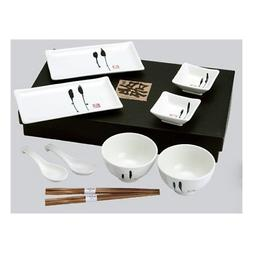 Happy Sales 10 Piece Japanese Dinnerware Set Enzo Design, Bl