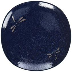 Happy Sales 4 Piece Dragonfly Blue Round Salad Plate Set, Bl